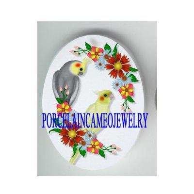 2 COCKATOO BIRD ROSE DAISY* UNSET CAMEO PORCELAIN CABOCHON