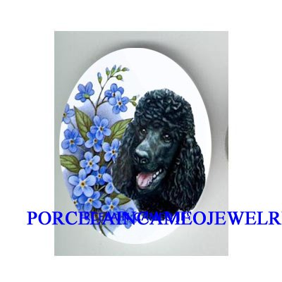BLACK POODLE DOG FORGET ME NOT CAMEO PORCELAIN CABO