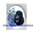 BLACK POODLE DOG FORGET ME NOT CAMEO PORCELAIN CABO