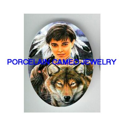 INDIAN LADY WITH WOLF * UNSET CAMEO PORCELAIN CABOCHON