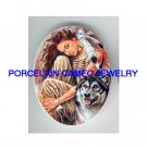 INDIAN PRINCESS WITH WOLF* UNSET CAMEO PORCELAIN CABOCHON