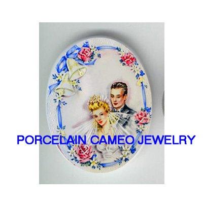 VINTAGE BRIDE GROOM WEDDING BELL ROSE* UNSET CAMEO PORCELAIN CABOCHON