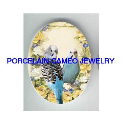 2 PARAKEET BUDGIE BIRD YELLOW ROSE  * UNSET CAMEO PORCELAIN CAB 18X25MM