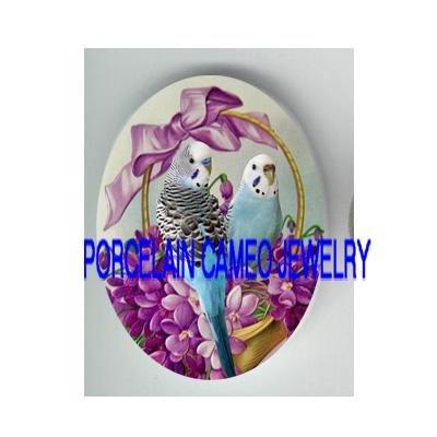 2 PARAKEET BUDGIE BIRD VICTORIAN VIOLET BASKET* UNSET CAMEO PORCELAIN CAB 30X40MM