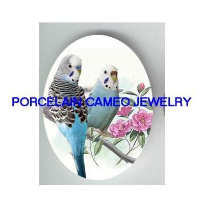 2 PARAKEET BUDGIE BIRD PINK ROSE* UNSET CAMEO PORCELAIN CABOCHON 30X40MM