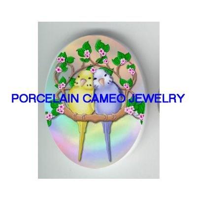 2 BABY PARAKEET BUDGIE FLOWER CAMEO PORCELAIN CAB 18X25