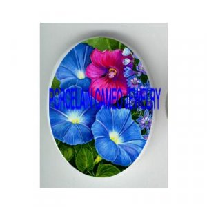 BLUE AND PURPLE MORNING GLORY* UNSET CAMEO PORCELAIN CABOCHON
