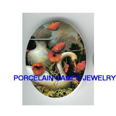 SWAN WITH POPPY FLOWER* UNSET CAMEO PORCELAIN CABOCHON