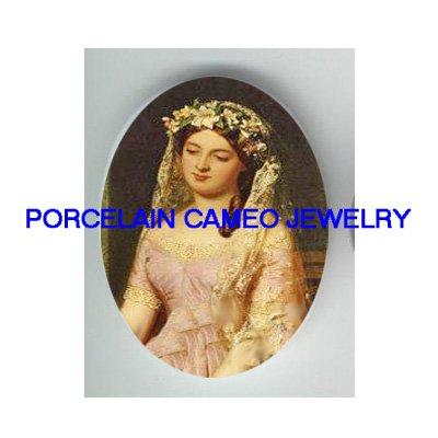 VICTORIAN FLORAL BRIDE* UNSET CAMEO PORCELAIN CABOCHON