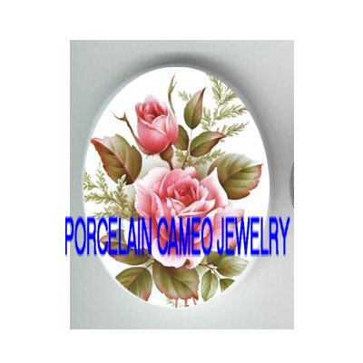 2 VICTORIAN ENGLISH OPEN PINK ROSE* UNSET CAMEO PORCELAIN CABOCHON