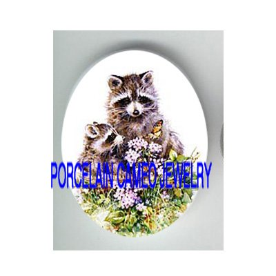 2 RACCOON FAMILY MOM BABY BUTTERFLY CAMEO PORCELAIN CAB
