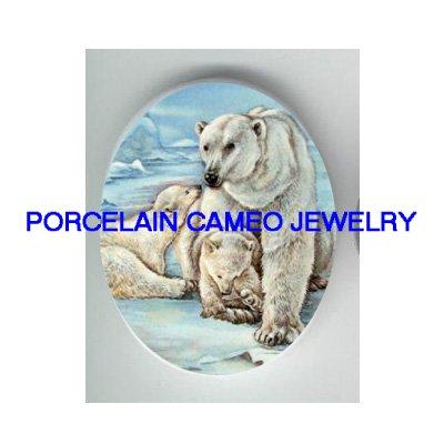 3 POLAR BEAR FAMILY MOM BABY CUBS CAMEO PORCELAIN CAB