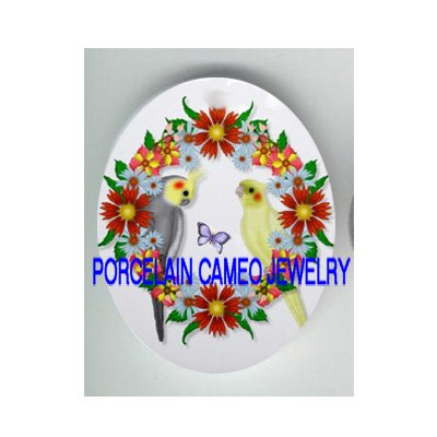 2 COCKATOO BIRD FLOWER BUTTERFLY PORCELAIN CAMEO CAB