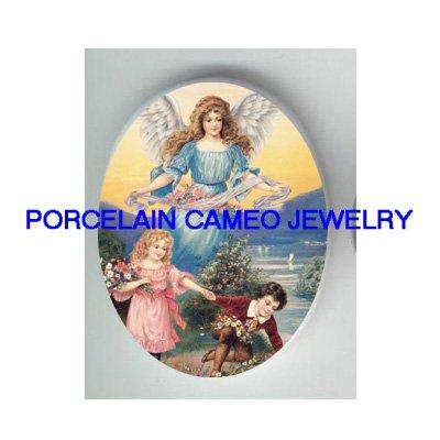 GUARDIAN ANGEL CHILD ROSE UNSET CAMEO PORCELAIN CAB