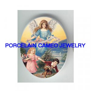 GUARDIAN ANGEL CHILD ROSE UNSET CAMEO PORCELAIN CAB