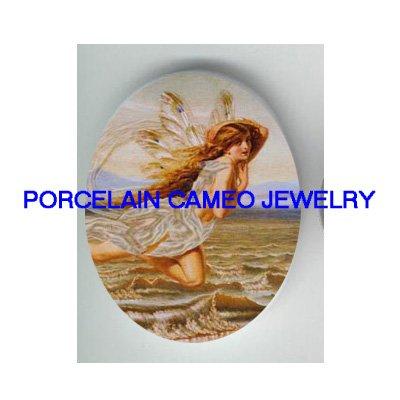 VICTORIAN MERMAID SEA GODDESS FAIRY UNSET PORCELAIN CAMEO CAB