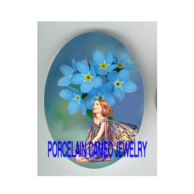 FORGET ME NOT FLOWER FAIRY  * UNSET CAMEO PORCELAIN CABOCHON