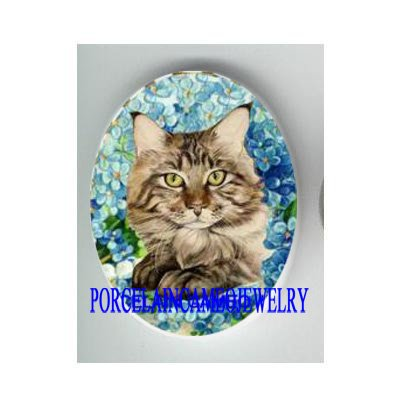 MAINE COON CAT FORGET ME NOT* UNSET CAMEO PORCELAIN CABOCHON