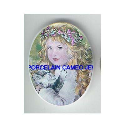 ANGEL GIRL HOLDING KITTY CAT* UNSET CAMEO PORCELAIN CABOCHON