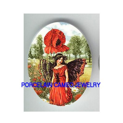 POPPY FLOWER BUTTERFLY FAIRY * UNSET CAMEO PORCELAIN CABOCHON