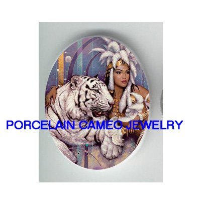 EXOTIC EGYPT QUEEN WHITE TIGER  * UNSET CAMEO PORCELAIN CABOCHON