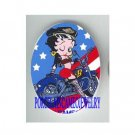 : BETTY BOOP MOTORCYCLE BIKE FLAG PORCELAIN CAMEO CAB