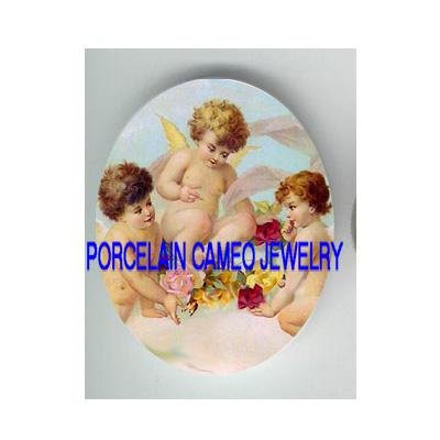 3 VICTORIAN ANGEL CHERUB ROSE* UNSET CAMEO PORCELAIN CABOCHON