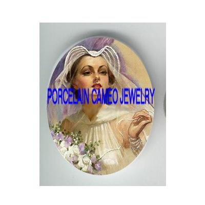 VINTAGE BRIDE WITH PURPLE ROSE * UNSET CAMEO PORCELAIN CABOCHON