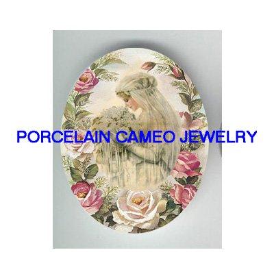 VINTAGE BRIDE WITH  LILACS PINK ROSE * UNSET CAMEO PORCELAIN CABOCHON