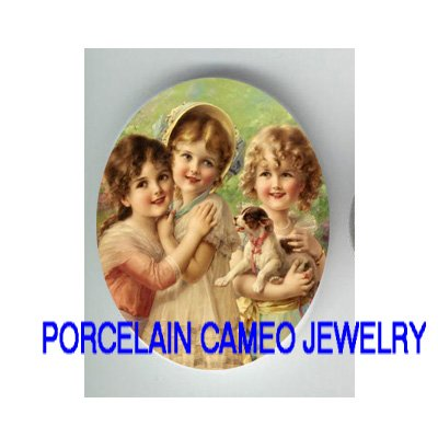 3 VICTORIAN SISTERS BEST FRIEND PUPPY DOG * UNSET CAMEO PORCELAIN CABOCHON