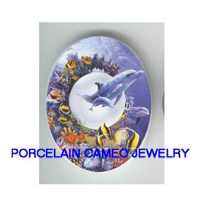 DOLPHIN FAMILY MOM BABY OCEAN FISH  * UNSET CAMEO PORCELAIN CABOCHON