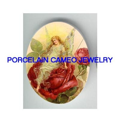 VICTORIAN ROSE BUTTERFLY FAIRY * UNSET CAMEO PORCELAIN CABOCHON