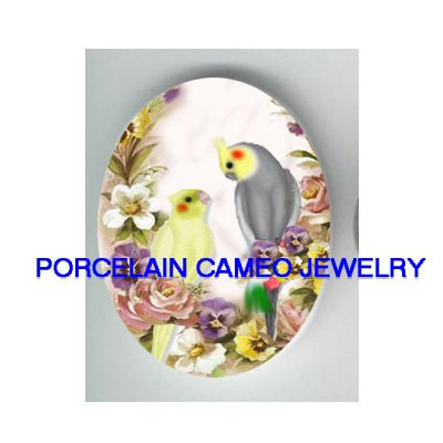 COCKATOO BIRD VICTORIAN ROSE PANSY CAMEO PORCELAIN