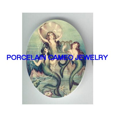3 VICTORIAN MERMAID SISTERS UNSET CAMEO PORCELAIN CAB