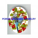 2 PARAKEET BUDGIE BIRD EAT STRAWBERRY* UNSET CAMEO PORCELAIN CABOCHON 18X25MM