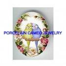 2 BABY PARAKEET BUDGIE BIRD VICTORIAN ROSE UNSET CAMEO PORCELAIN CAB 18X25