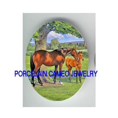 *2 MARE AND COLT HORSE* UNSET CAMEO PORCELAIN CABOCHON