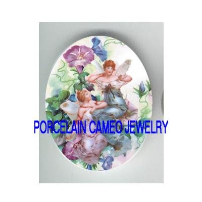 VICTORIAN MORNING GLORY FAIRY * UNSET CAMEO PORCELAIN CABOCHON