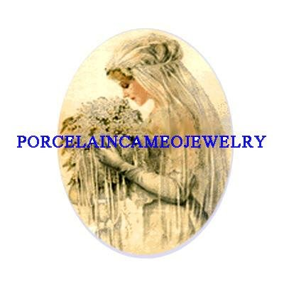 VICTORIAN VINTAGE BRIDE LILACS CAMEO PORCELAIN 18x25MM