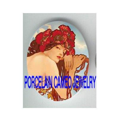 ALPHONSE MUCHA POPPY LADY * UNSET CAMEO PORCELAIN CABOCHON