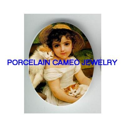 VICTORIAN GIRL HOLDING 2 KITTY CAT CAMEO PORCELAIN 18x25
