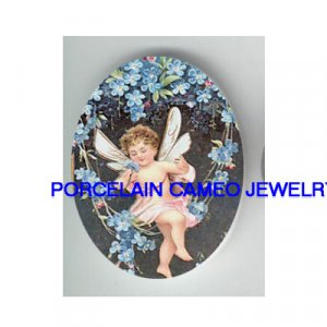 VICTORIAN FAIRY ANGEL FORGET ME NOT SWING * UNSET CAMEO PORCELAIN CABOCHON