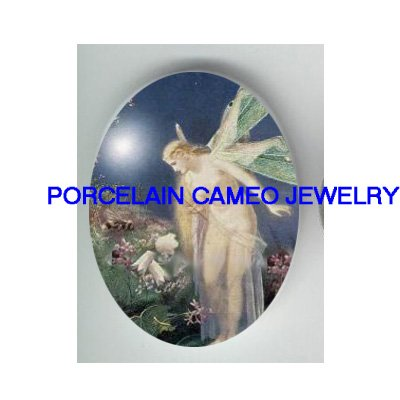 VICTORIAN DRAGONFLY FAIRY LILY OF THE VALLEY* UNSET CAMEO PORCELAIN CABOCHON