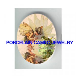 VICTORIAN FAIRY PLAYING WITH FROG WATER LILY PORCELAIN CAMEO CAB