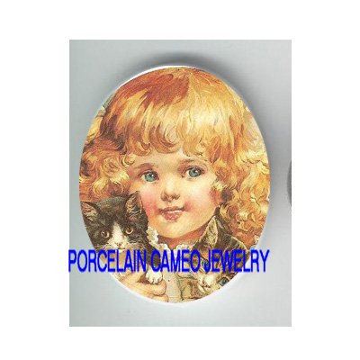 VICTORIAN BLONDE GIRL CUDDLING 2 KITTY CAT * UNSET CAMEO PORCELAIN CABOCHON