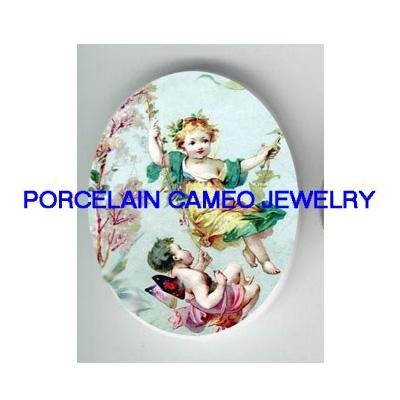 2 PLAYING VICTORIAN FAIRY ON SWING * UNSET CAMEO PORCELAIN CABOCHON