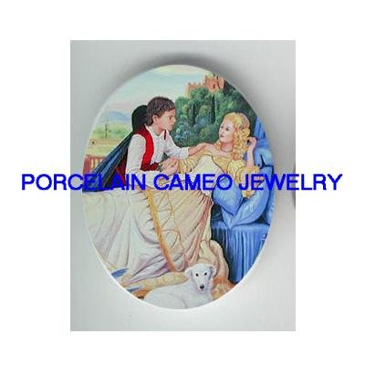 SLEEPING BEAUTY WITH PRINCE* UNSET CAMEO PORCELAIN CABOCHON