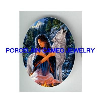 INDIAN LADY WITH HOWLING WOLF* UNSET CAMEO PORCELAIN CAB
