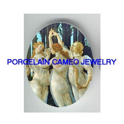 3 GRACES GREEK GODDESS * UNSET CAMEO PORCELAIN CABOCHON
