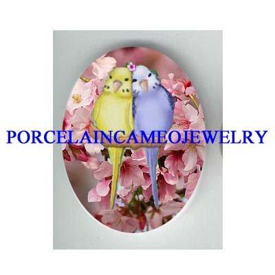 2 BABY PARAKEET BUDGIE BIRD CHERRY BLOSSOMS  * UNSET CAMEO PORCELAIN CAB 18X25